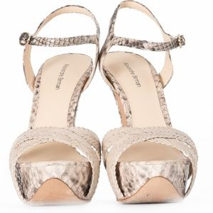 ALEXANDRE BIRMAN PYTHON AND LEATHER PLATFRM SANDAL